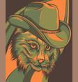 wild cat lynx bobcat trot hand top hat vector image vector image