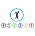 winner hands up rounded icon vector image