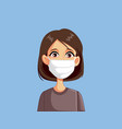 woman wearing medical surgical face mask vector image