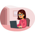woman working from home sitting in front a vector image