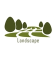 Park landscape icon with lawn and bushes vector image