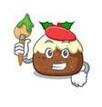 artist fruit cake character cartoon vector image
