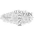 back of knee pain text word cloud concept vector image vector image