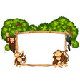 border template with monkeys and toucan vector image vector image