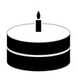 cake with candle the black color icon vector image vector image