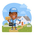 cartoon postman brought a letter vector image vector image