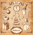 Christmas retro drawings by hand vector image