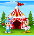 circus girl rabbit costume and rooster kid on the vector image vector image