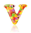colorful letter v made of fruits vector image