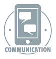 communication phone logo simple gray style vector image vector image
