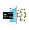 credit card transform smartphone to money vector image vector image