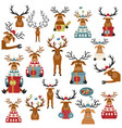 cute reindeer sticker icon set elements for vector image vector image