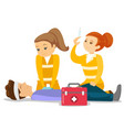 doctors doing cardiopulmonary resuscitation vector image vector image