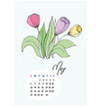 doodle tulips flowers may 2018 vector image