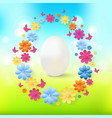 easter eggs with colorful flowers butterflies vector image