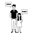 father and daughter family speech bubble vector image vector image