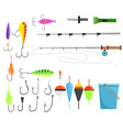 fishing set accessories for spinning fishing vector image vector image