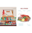 flat seafood market concept vector image vector image