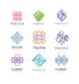 flat set of original logos for fabric or vector image