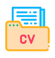 folder with curriculum vitae cv job hunting vector image vector image