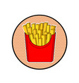 french fries in red paper box pop art fast food vector image vector image