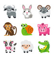 funny animal cartoon icon set vector image