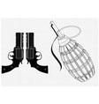 grenade and two pistols on a white vector image