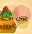 happy ugadi invitation card kalash mandala vector image