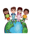 kids saving world vector image