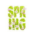 letters of greenery spring vector image vector image