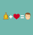 money and loves make you happy vector image vector image