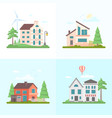 nice buildings - set of modern flat design style vector image vector image