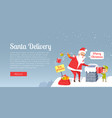 santa delivery merry christmas best presents vector image