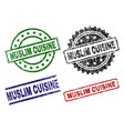 scratched textured muslim cuisine seal stamps vector image