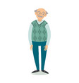 senior man standing old man wearing glasses vector image
