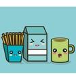 set cartoon milk mug and fries design vector image