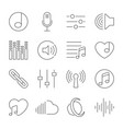 set music line icons music thin line vector image