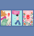 set postcards to international womens day vector image vector image