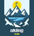 skiing club eagle flying over the mountains vector image