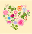 springtime colorful flower and butterfly in heart vector image vector image