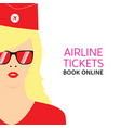 stewardess blonde in red uniforms with booking vector image vector image
