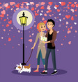 valentine couple walking outdoor with dog vector image vector image