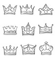 various style crown hand draw doodles vector image vector image