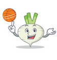 with basketball turnip character cartoon style vector image