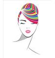women short hair style icon logo women on white vector image vector image