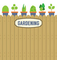 Pot Plants On Wooden Wall Gardening Concept vector image