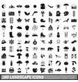 100 landscape icons set simple style vector image vector image