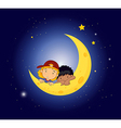 A moon with two kids vector image vector image