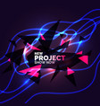 abstract banner with neon lines on a dark vector image vector image
