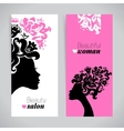 Banners of beautiful women silhouettes with vector image